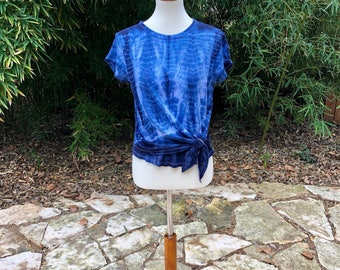 Tie dyed recycled women's tee shirt, Xsmall ladies tie up tee, shibori linen tee