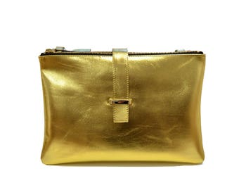 Golden Leather Pouch,golden leather purse,leather bag,cross body bag,leather Hand Bag, Clutch, Pouch, LOU BAG GOLD