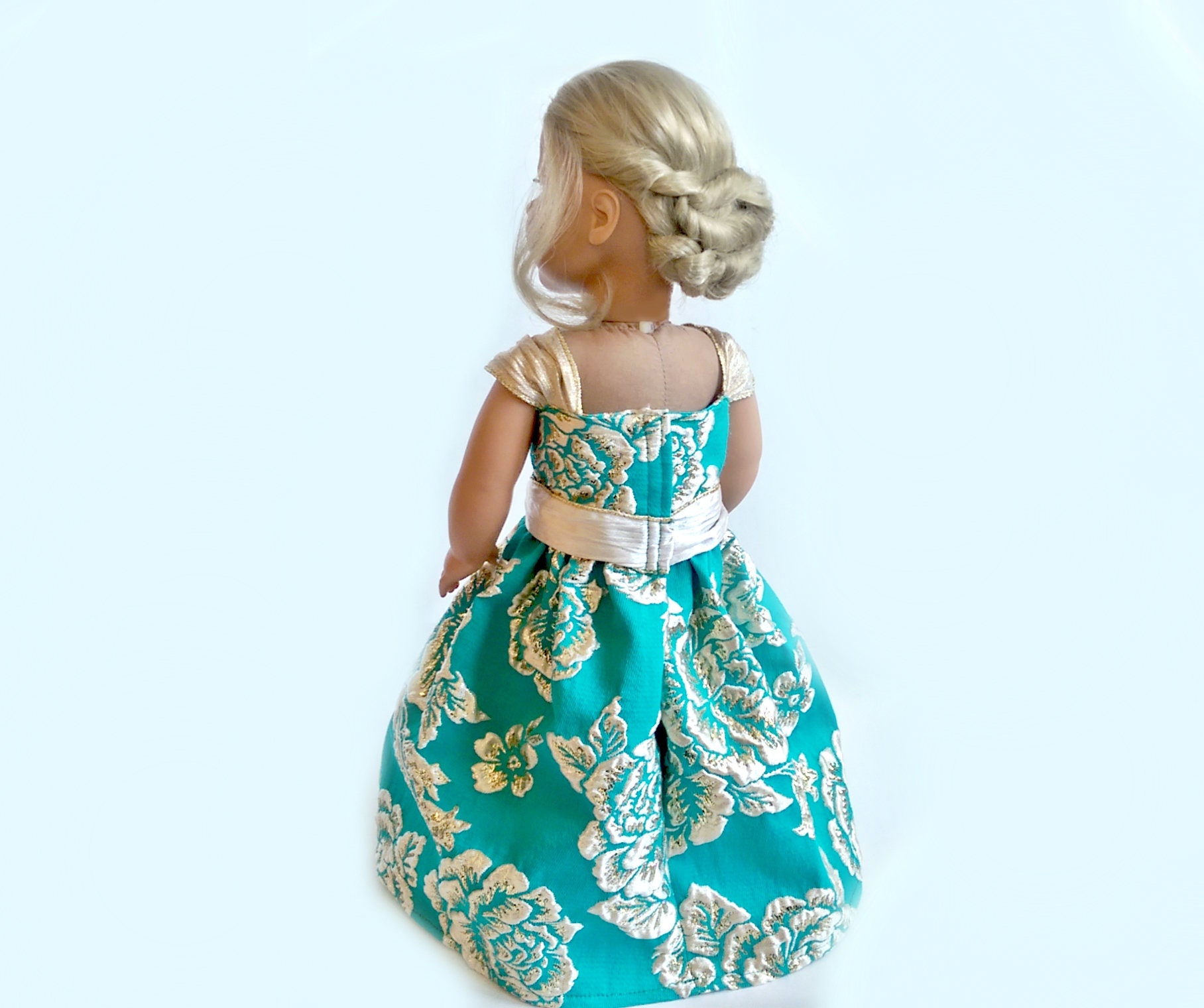 Teal Gold Princess Dress~18 Inch Doll Ball Gown~Turquoise Cream ...
