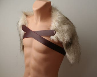 Cream Brown Wolf Fur Ruff, Leather Chest Strap, Moyamensing, shoulder pelt imitation fur mantle, viking barbarian primitive winter fur