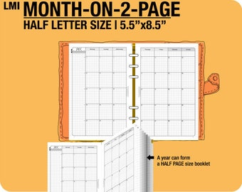 MO2P July 2017 to December 2019 / Half Letter month-on-2-page MON - Filofax Inserts Refills Printable Binder Planner.