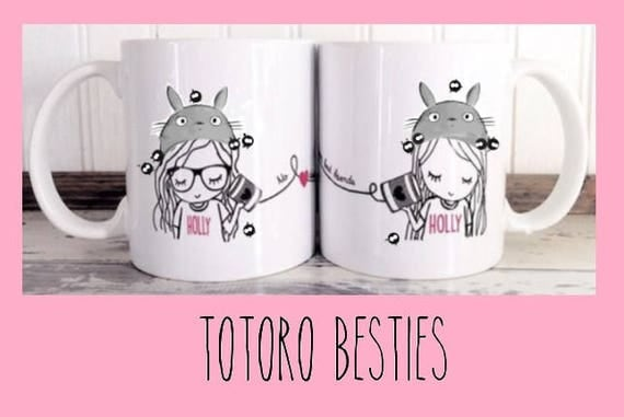Best Friend Long Distance Coffee Tea Customized Totoro gift mug set