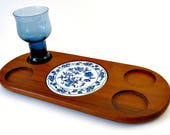 Mid Century Modern Dolphin Teak Wood Serving Tray with Blue Onion Porcelain Tile Snack and Cheese Platter Board