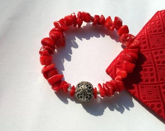 Red Coral Bracelet Silver 925. Stretchy bracelet coral bamboo. Summer jewelry. Fashion bracelet