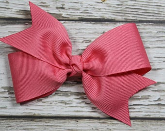 NEW Solid French Pink Basic Boutique Hair Bow on Lined Alligator Clip