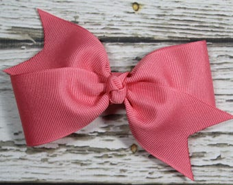 NEW Solid French Pink Grosgrain Ribbon Toddler/Girl Basic Boutique Hair Bow on Lined Alligator Clip
