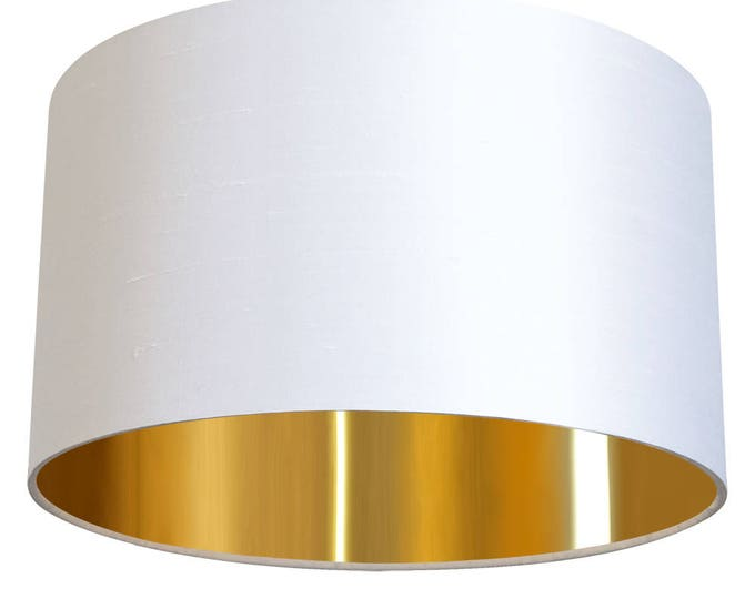 "Gold Lined White Silk Dupion 14"" Lampshade"