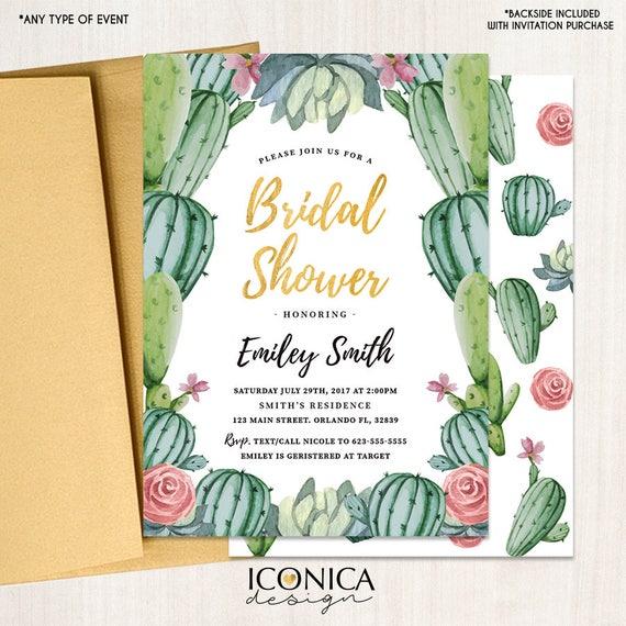 cactus invitations watercolor succulents bridal shower invitation