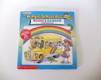 Vintage Children's Book Magic School Bus Makes a Rainbow - A Book About Color - 1997 - Free Shipping