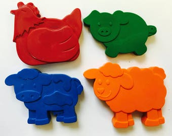 25 sets of 4 Farm Barnyard Animal Crayons Party Favors - Cow - Pig - Sheep - Chicken