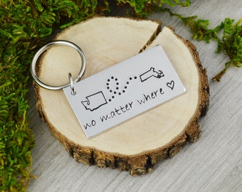 Custom Long Distance Keychain • Long Distance Love • Family and Friend Gift