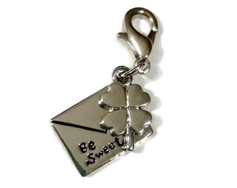Be SWEET Lucky Clover Charm Love Letter Envelope Silver Shamrock Stitch Marker Planner Phone Charm Zipper Pull Jewelry Craft Supply Gift