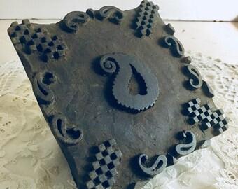 Antique Carved Wood Textile Stamp