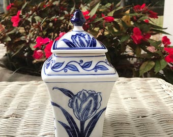 Blue and White Bombay Covered Dish