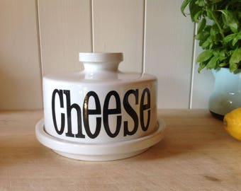 1970s TG Green Spectrum - Cheese Dome and Underplate - 70s Typography - Vintage