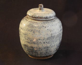 Small Stoneware  Caddy in White with Wood Ash