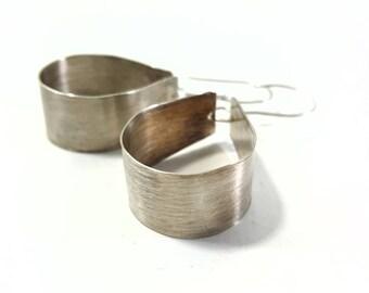 Brushed Sterling Silver Wide Hoop Earrings, Hand-forged, Sterling Ear Wires, Lightweight, Boho, Summer, Drop, Dangle, OOAK