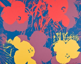 ANDY WARHOL - 'Ten foot flowers' - large hand numbered vintage lithograph - c1986 - large (CMOA official stamp)