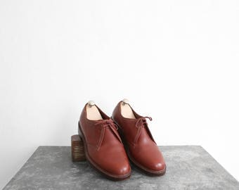 1950s/1960s French Army Brown Service Shoes - Derby/Blucher - Mens Size 8.5US (41.5EU)