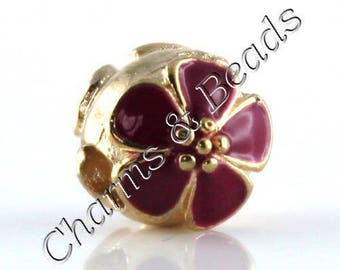1 Pearl charm in fuchsia and metal plated enamel cherry blossom gold Pandora compatible