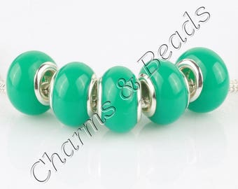 Silver 1 metal turquoise blue glass lampwork charm bead compatible pandor chamili