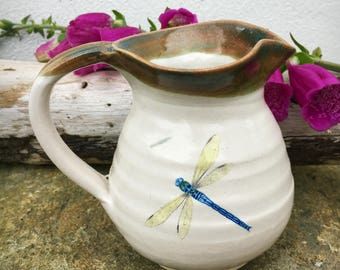 Milk Jug with Dragonfly  pottery stoneware