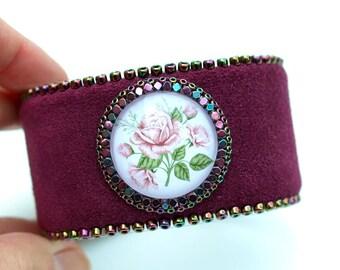 Roses Purple Leather Cuff - Bohemian Cuff-Floral Bracelet-Statement Boho Bracelet-Enchanted Garden Bracelet-Leather Bracelet