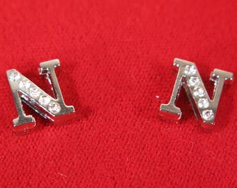 "10pc ""letter N"" 8mm slide charms in antique style silver (BC1375-N)"