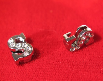 """BULK! 30pc """"letter S"""" 8mm slide charms in antique style silver (BC1375-S)"""