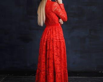 Floor Length Dress , Red Lace Dress