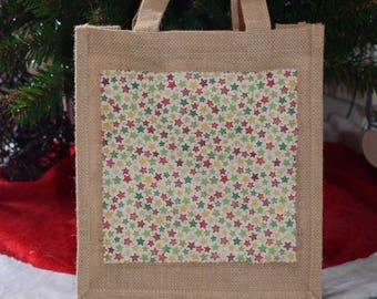 Stars Christmas Jute Bag, Star Bag, Festive Stars Bag, Christmas Hamper Bag, Hamper Gift Bag, Stars Gift Bag, Handmade Star Bag, Hessian Bag