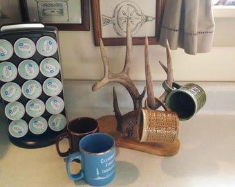 "Antler coffee cup holder, cup rack, antler coffee mug rack. 13"" high Whitetail deer antler with wood stand/organizer,  fresh brown antler"