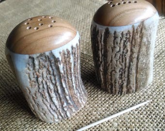 "Salt & Pepper Set, mid-size Elk Antler/Idaho Wild Cherry hardwood, natural color shakers, rounded tops with ""S"" and ""P"" (exact set photos!)"