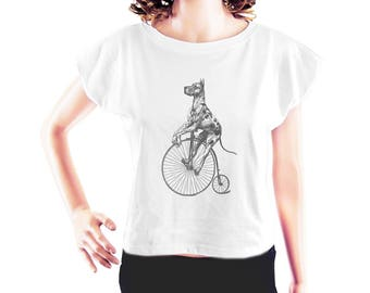 Great Dane on Big Wheel Bike tshirt cute tshirt funny graphic shirt blogger shirt cool tshirt fashion top women top crop shirt size S