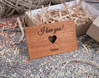 Personalized Wallet Insert with heart, Mahogany wood, Custom wallet insert love note, customized wallet card, gift for dad, gift for him.