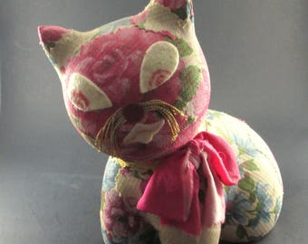 Vintage Cat Piggy Bank Plaster with Floral Fabric Patch Cover Royal Sealy Japan