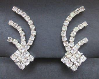 Vintage Silver Tone Faux Diamond Rhinestone Cluster Earrings Clip On Closures Unusual Shape Mid Century
