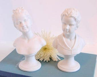 Vintage Boy Girl Busts Statues - Bisque Classic Bust Statues - Pair Classic Bust Statuary