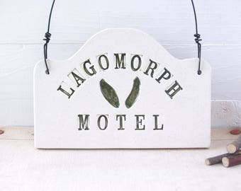 Motel Lagomorph Hand-Built Ceramic Wall Sign.  Rustic Folk Art.