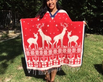 Mexican Poncho, Indian poncho,Blanket poncho,Wool Poncho, Reversible,red,white,Reindeer fringed