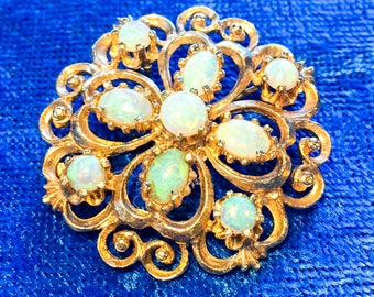 14k Yellow Gold & Opal Brooch With Pendant Loop