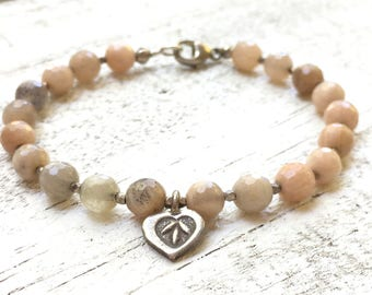 Beautiful Sand stone with Hill Tribe nuggets and Hill Tribe heart charm, 5 mm beads, fits 6-7 inch wrist, Silver plated clasp
