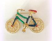 Vintage Bicycle Brooch - Sweet Little Bike with Rhinestone Wheels and Green & Red Enamel - Vintage Jewelry