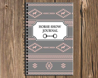 Horse Show Journal: Track your competition results and more in this Southwestern geometric pattern spiral equestrian notebook