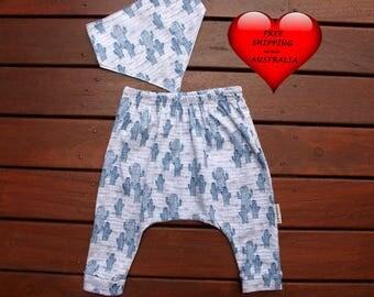 Baby boy pants, Baby boys harem pants, boys pants size 1, baby boys pants size 00 and 0 Blue cactus print, Boys pants size 2.FREE BIB
