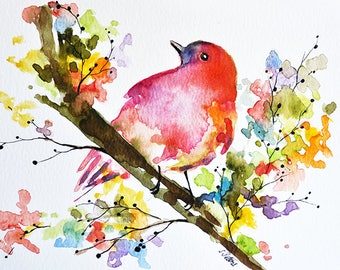 PRINT Of Watercolor Bird Painting, Pink Bird With Colorful Flowers 6x8 Inch