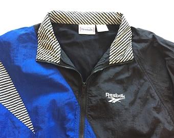 Vintage 90s Reebok Blue Black Windbreaker XL