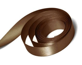"""5 Yards Of Brown Double Faced Satin Ribbon, One Width Available: 7/8"""", Brown Ribbon, Brown Satin Ribbon, Brown Blue Sash"""