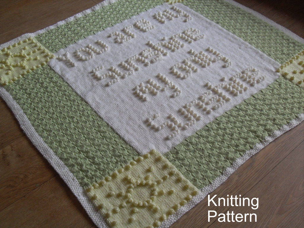 Knitting Pattern For You Are My Sunshine Blanket : You are my Sunshine Baby Blanket Bobble KNITTING PATTERN by