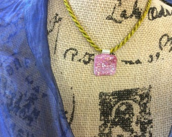 Pink Pefection Fused Glass Pendant on Cord